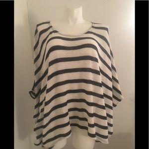 Lane Bryant Thin Open Knit Poncho Sweater Striped